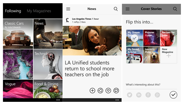 Flipboard for Windows Phone screen shots